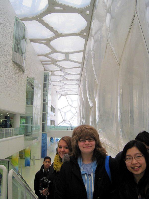 "Elaina at the futuristic ""Water Cube"" 2008 Olympics pool."