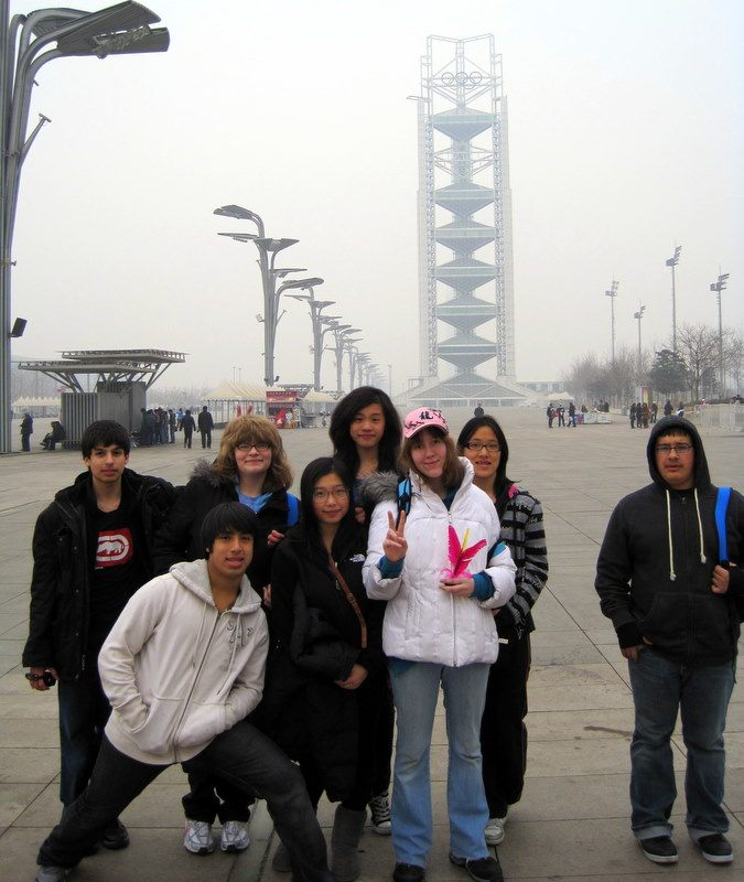 Julio with friends at Beijing's Olympic Center.