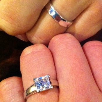 Colin and me sporting our engagement rings.