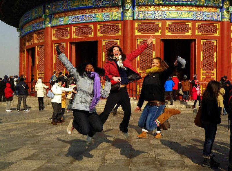 Such joy! Jumping at the Temple of Heaven.