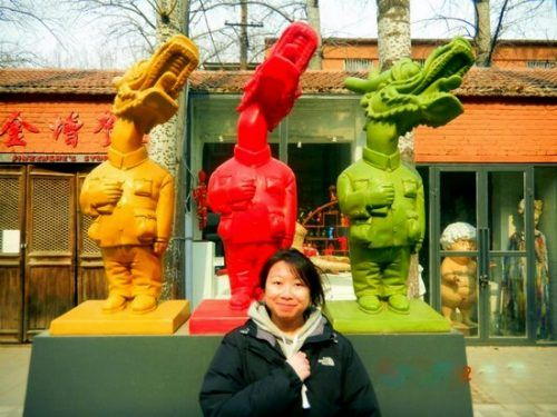 Terry with just three of the zillion Art Zone statues!