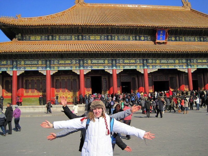 Candace and friends at the Forbidden City in Beijing.