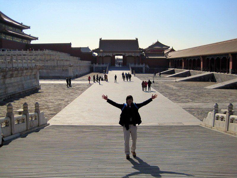 A Boston high school student in the Forbidden City in Beijing.