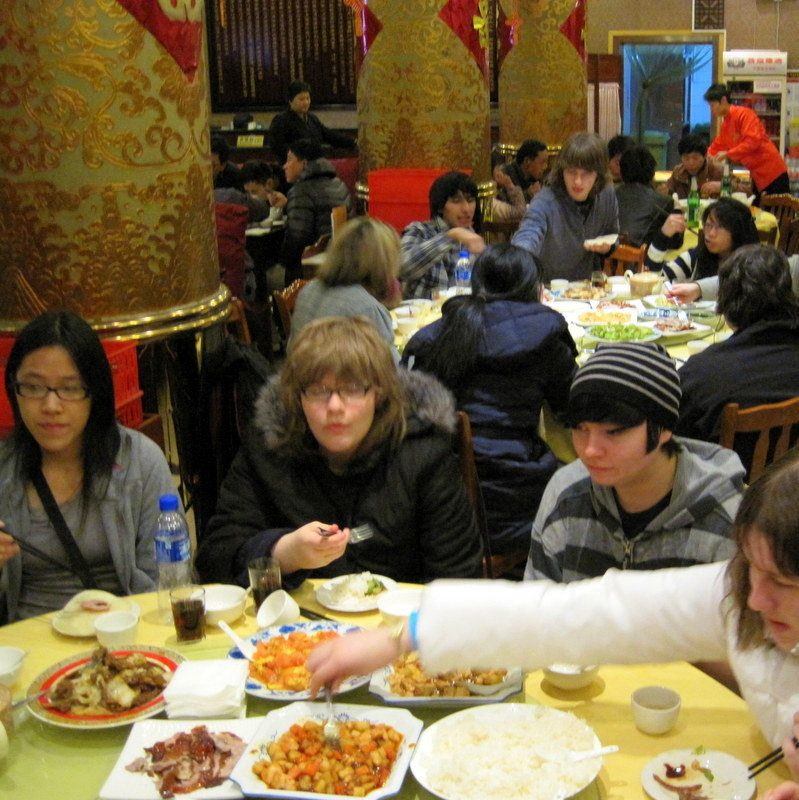 Delicious food in China, even for vegan Ryan (on the right).