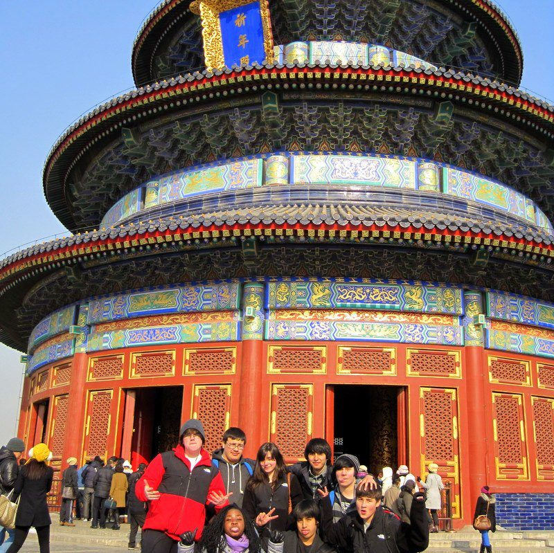 Nathaniel (second from left in the back row) at the Temple of Heaven.