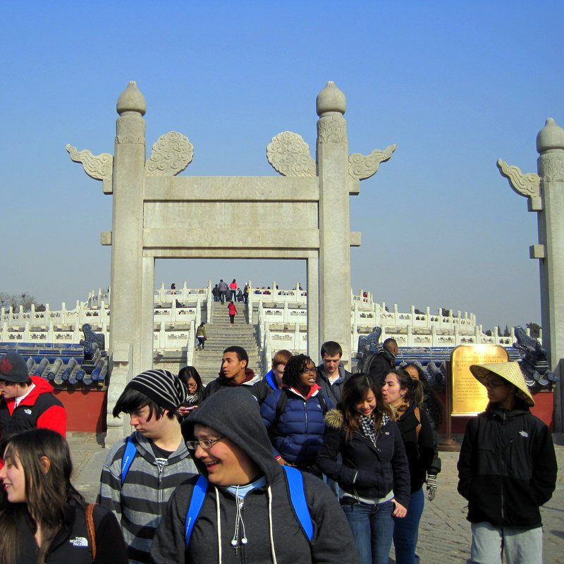 Exploring the giant grounds of the Temple of Heaven.
