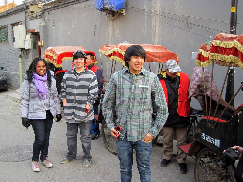 On a rickshaw tour of the winding Hutong neighborhood.