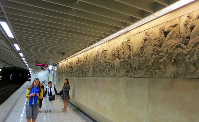 The glossy Acropolis subway station in Athens melds ancient and modern!