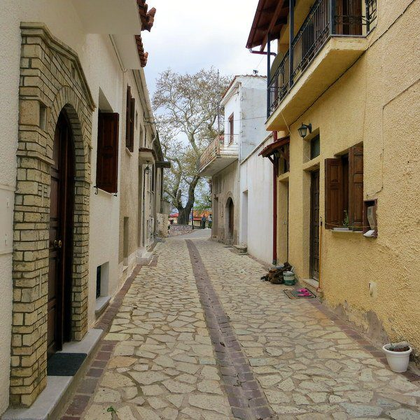 One of the charming narrow streets of Arachova.