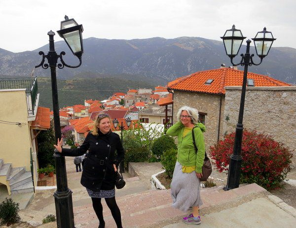 Great teacher friends on the endless stairs of Arachova Greece!