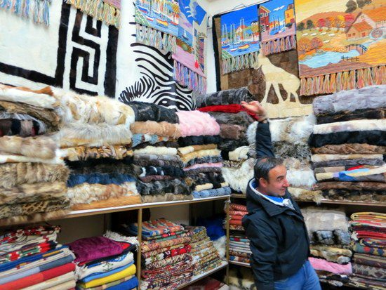 The eager store owner in Arachova, Greece, showing his furs.