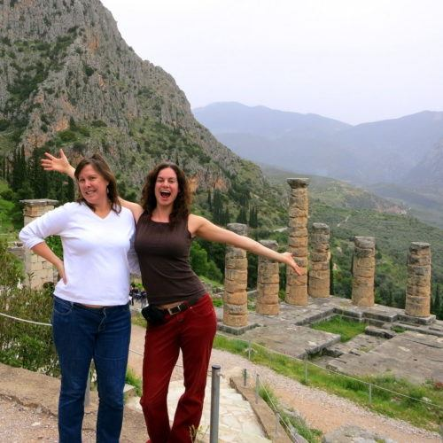 My coworker and I are so excited to be in Delphi, Greece!