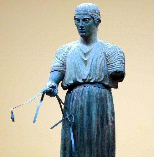 One of the most famous sculptures at Delphi, now in the museum.