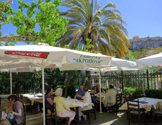 We ate lunch today under the palm trees, sun, and ACROPOLIS!