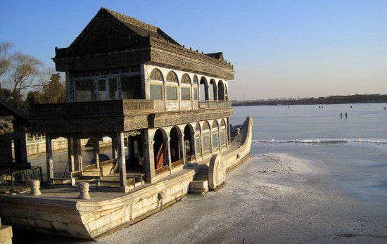 The famous Stone Boat at the Summer Palace: Skaters behind!