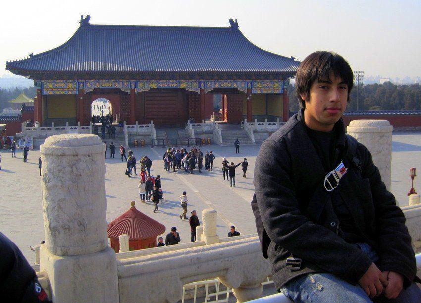 Daniel in a pensive moment at Tiantan Park.