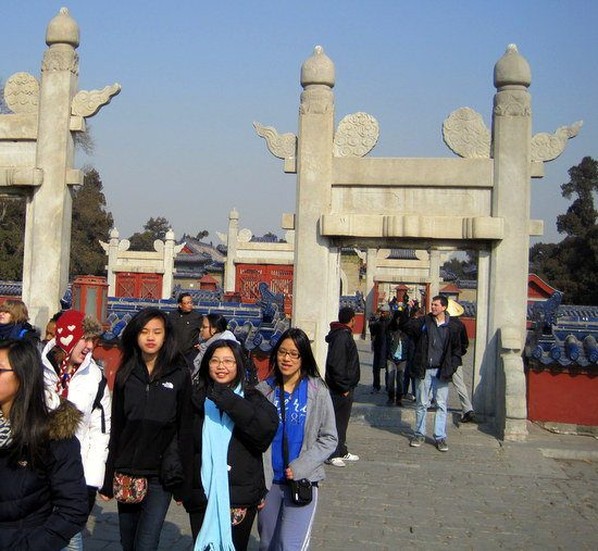 Xiu Na and friends at the Temple of Heaven.