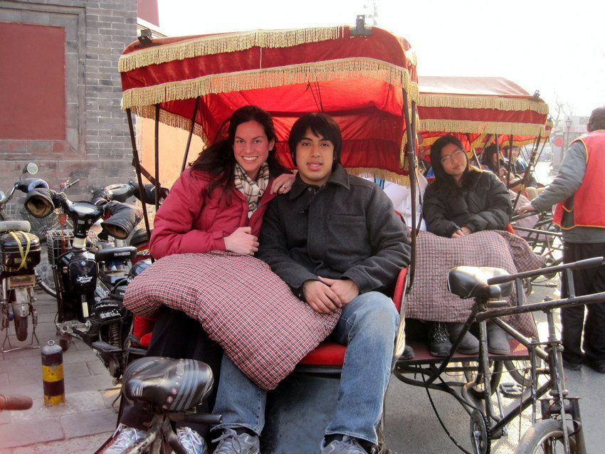 On a rickshaw tour of the Hutong neighborhood of Beijing.