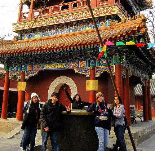 Xiu Na is on the right, at Lama Temple in Beijing.