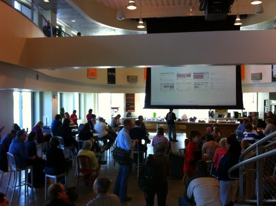 The central meeting area which launched and concluded EdCamp Boston.