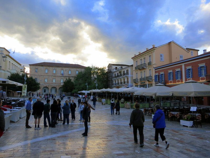 This is the central town square of Nafplio. Charming!