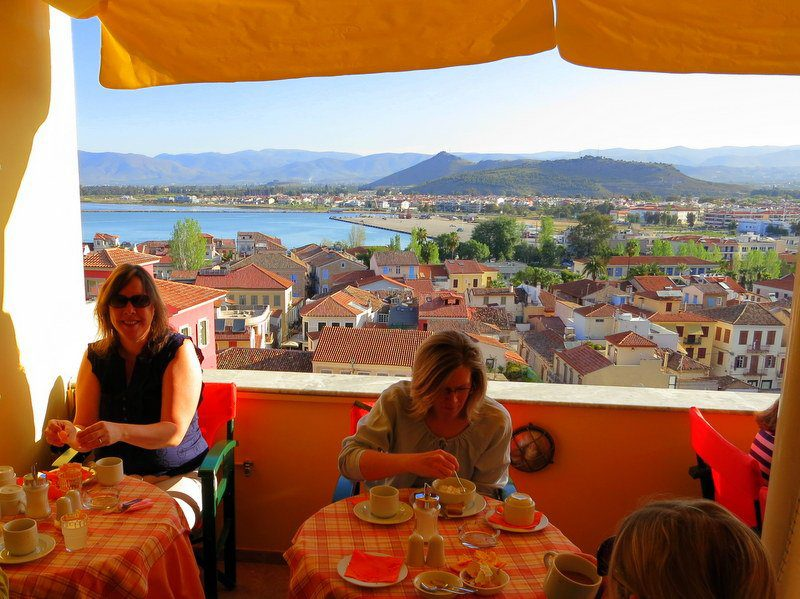 This was our heavenly breakfast view in Nafplion, Greece. WOW.