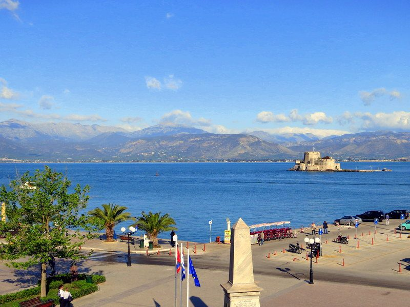 This is the view from the Harvard Center for Hellenic Studies in Nafplio. Hmm... Why do you think they picked the location?