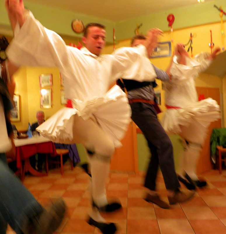 Wild Greek dancing means the Man Skirt lifts to show Man Tights!