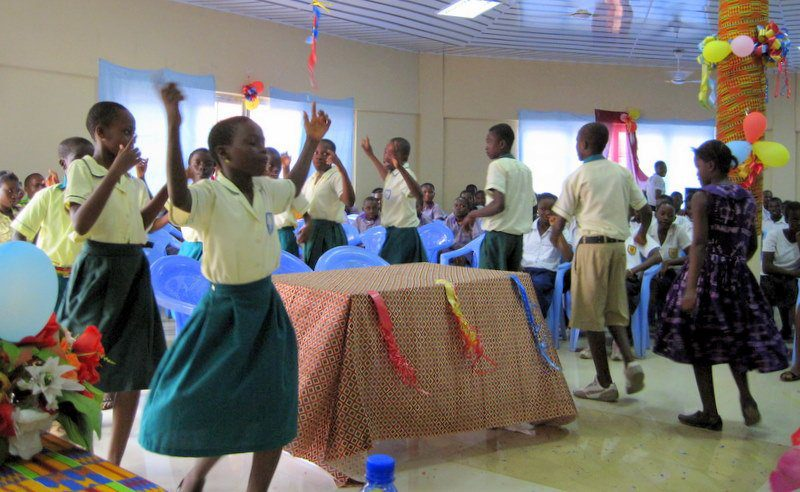 """A """"dancing intermission"""" during a school event in Ghana, West Africa."""