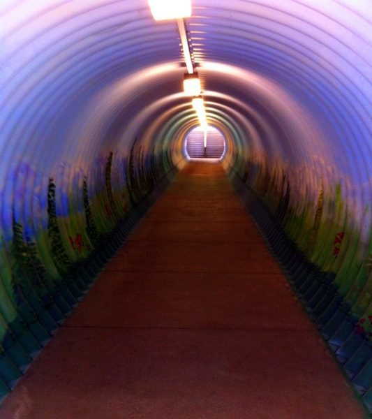 The tunnel leading to the TBEX conference. The art is appreciated!