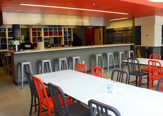 Such sleek design in the dining room of the New Boston Hostel.