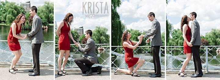 Reenacting our dramatic double wedding proposal in Boston's Public Garden for Krista Photography.