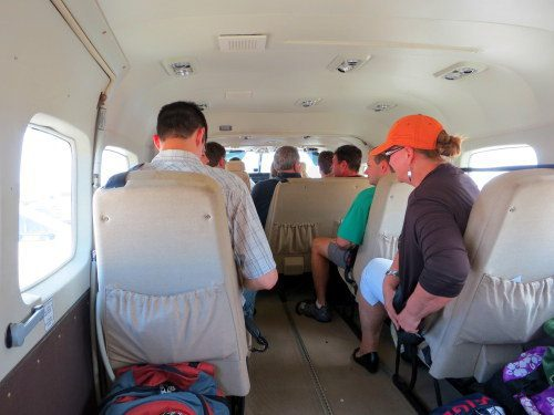 The inside of the Tropic Air flight was the size of a small van. I took this photo from the back seat.