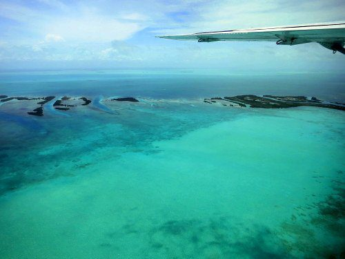 The stunning view of Belize's islands from our tiny plane.