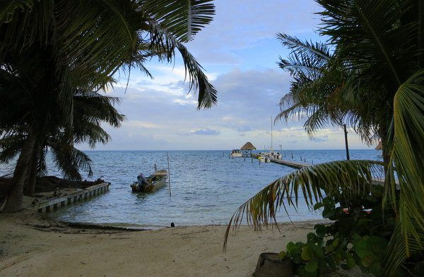 Our gorgeous view during our Caye Caulker dinner.