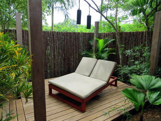 The private back deck of our Master Suite, replete with an outdoor shower!