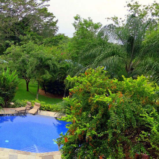 The two-level pool outside of our casita at Ka'ana resort in Belize.