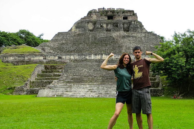 Xunantunich Mayan ruins in Western Belize, with Colin, me, and our giant muscles.