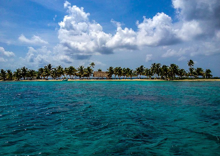 The view as we approached the tiny paradise island of Laughing Bird Caye to snorkel.