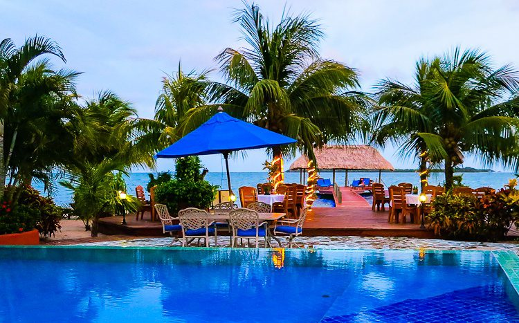 The bursting colors of our resort on the long beach peninsula of southern Belize, Placencia.