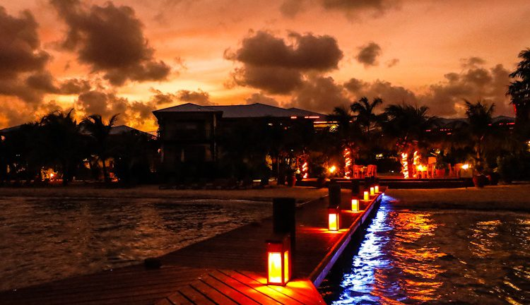 Looking back at the resort from the pier as the sun gloriously set, turning everything rose red.