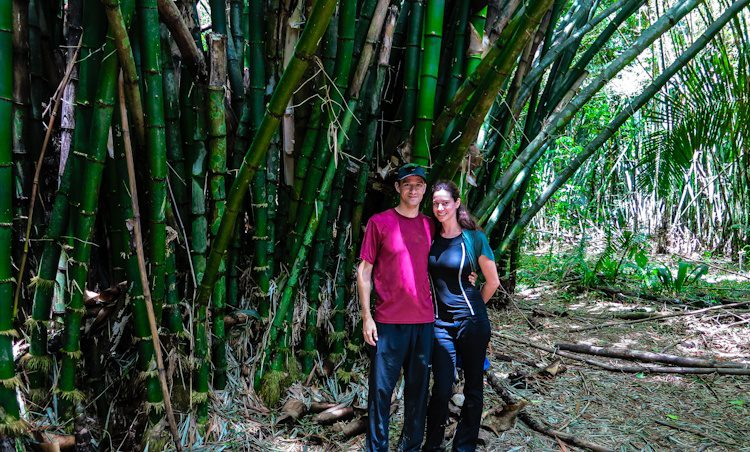 Colin and me by the massive bamboo groves in the jungle surrounding Monkey River, Belize.