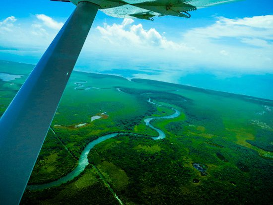 Most of Belize is this relaxed and natural: Green plants and blue water.
