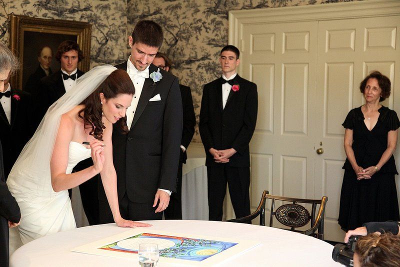 Before the wedding ceremony, the Bride and Groom sign the Ketubah: the Jewish wedding contract.