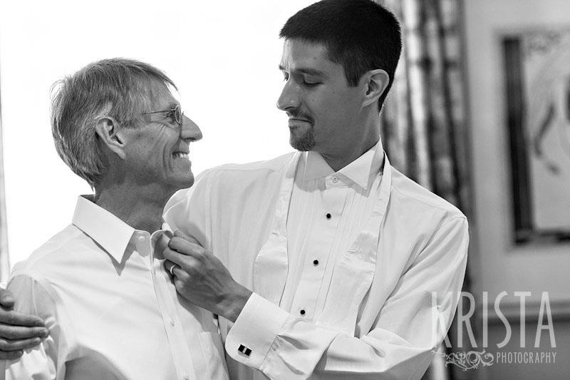 Colin and his father had much pre-wedding prep, too, including careful tie straightening.