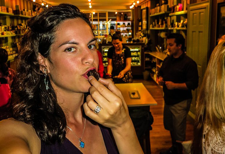 Savoring every molecule of that delicious chocolate sample!