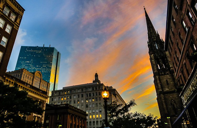 Boston sunset by the Hancock Building