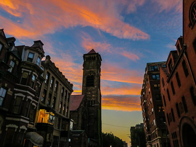 Pink sky Boston sunset