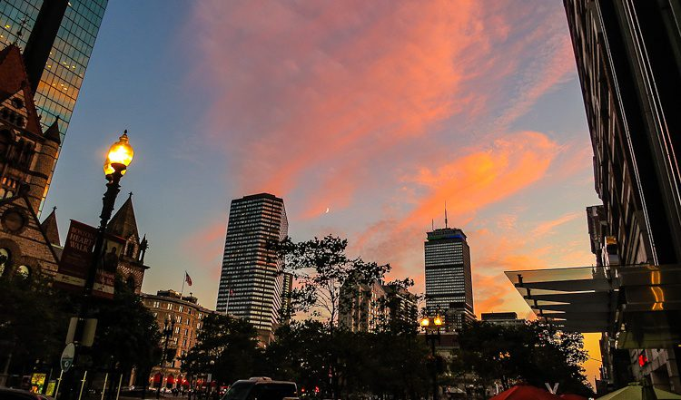 Boston Sunset: Pink sky by Copley Square and the Prudential Building