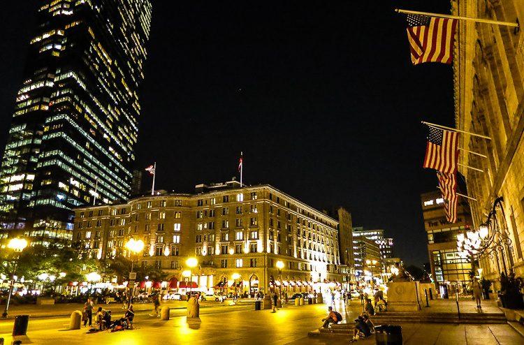 Copley Square Boston at night